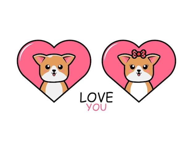 Simpatica coppia di animali di san valentino con cane