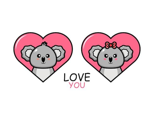 Simpatica coppia di animali di san valentino con koala