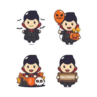 Carino vampiro dracula illustrazione di cartone animato di halloween carino illustrazione vettoriale di cartone animato di halloween