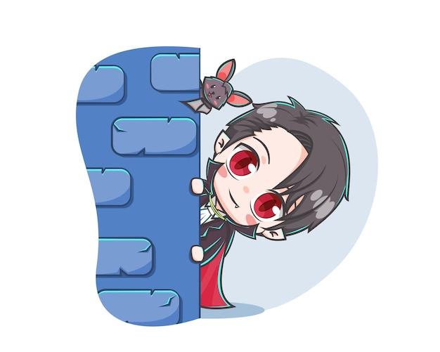 Simpatico vampiro che si nasconde con l'illustrazione del fumetto del pipistrello