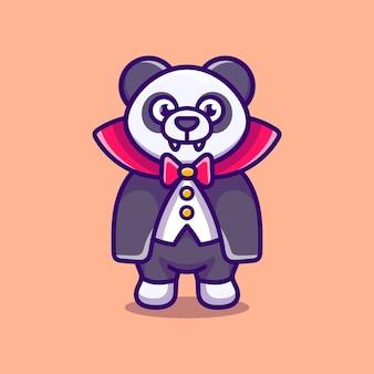 Illustrazione di cartone animato carino panda vampiro