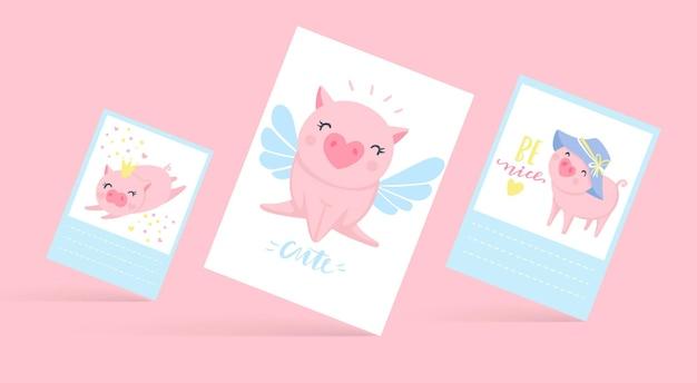 Carte vettoriali carine con maiali divertenti. illustrazione di maiale isolato su bianco. animali del fumetto. allegra collezione piggy.