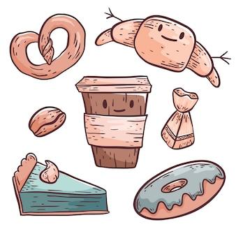 Carino, vettore, scarabocchiare, illustrazione. oggetti isolati su sfondo bianco. caffè in un bicchiere di plastica e pasticcini, ciambella, croissant, pretzel, fetta di torta e caramelle. elementi di design
