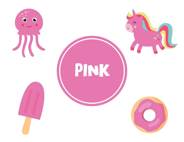 Flashcard vettoriale carino con set di oggetti rosa. pagina dei colori di apprendimento per i bambini. foglio di lavoro educativo per bambini in età prescolare.