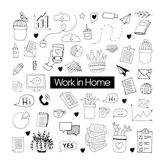 Insieme di doodle disegnato a mano di vettore carino su coronavirus, covid-19, stay home, lavoro a casa. protezione pandemica. icone di scarabocchio positivo in quarantena, elementi domestici. isolato su sfondo bianco.
