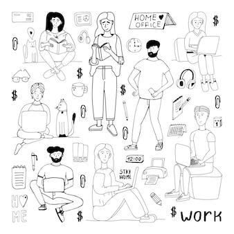 Insieme di doodle disegnato a mano di vettore sveglio con persone, uomini donne. resta a casa, lavora a casa. libero professionista. icone di scarabocchio positivo in quarantena, elementi domestici. isolato su sfondo bianco.