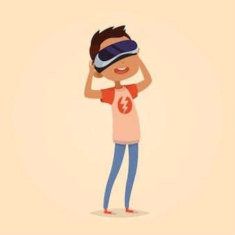 Illustrazione vettoriale carino per bambini. stile cartone animato. carattere isolato. tecnologie moderne per bambini. ragazzo con dispositivo di realtà virtuale.