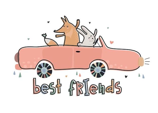 Illustrazione vettoriale carino di volpe divertente e coniglio su car