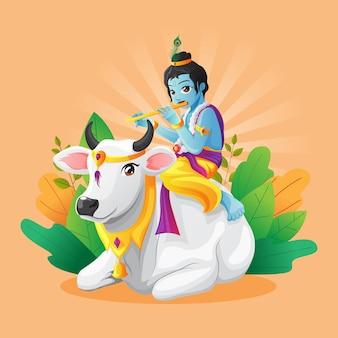 Simpatica illustrazione vettoriale del piccolo krishna che suona il flauto mentre cavalca una mucca bianca