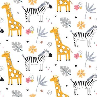 Simpatico modello vettoriale senza soluzione di continuità con animali safari giraffa zebra e piante tropicali