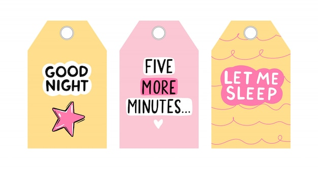 Tag vettoriali carino con citazioni di sonno. collezione di carte vettoriali. design di etichette colorate.