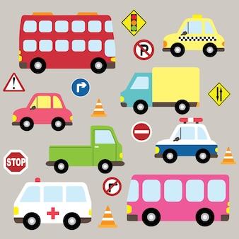 Set di collezioni di trasporto di veicoli carini