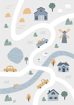 Carina mappa del villaggio con case e animali. illustrazione vettoriale disegnato a mano di una fattoria. creatore di mappe della città.