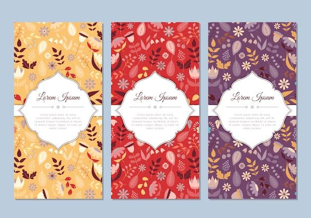 Set di carte floreali carino doodle vintage per vacanze speciali. biglietto di auguri o salva la data con fiori colorati. illustrazione vettoriale