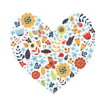 Carino a forma di cuore vintage con fiori