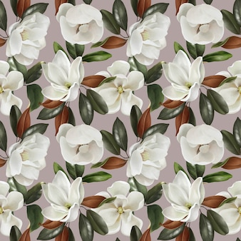Modello senza cuciture d'annata sveglio con i fiori e le foglie delle magnolie