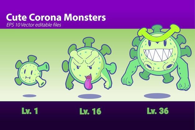 Cute virus cartoon corona monster icon illustration flat cartoon style per game animation web ba