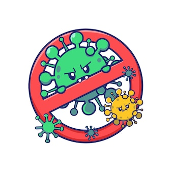 Simpatico cartone animato virus con segnale di stop