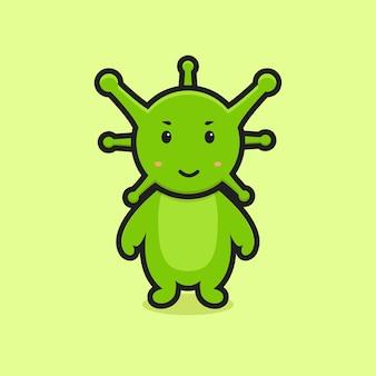 Illustrazione sveglia del carattere della mascotte del virus. disegno isolato su sfondo giallo.