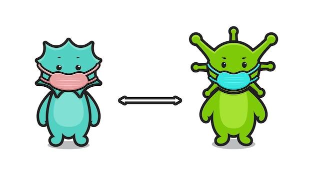 La maschera di usura dell'illustrazione del personaggio della mascotte del virus carino mantiene la distanza disegno isolato su sfondo bianco.