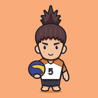 Giocatore di pallavolo sveglio che tiene palla icona del fumetto vettoriale. icona sportiva concetto vettore isolato. stile cartone animato piatto