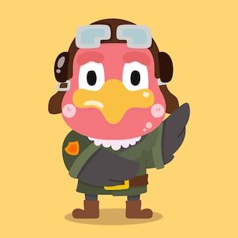 Simpatico cartone animato pilota avvoltoio illustrazioni animali