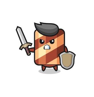 Simpatico soldato con rotolo di wafer che combatte con spada e scudo, design in stile carino per maglietta, adesivo, elemento logo