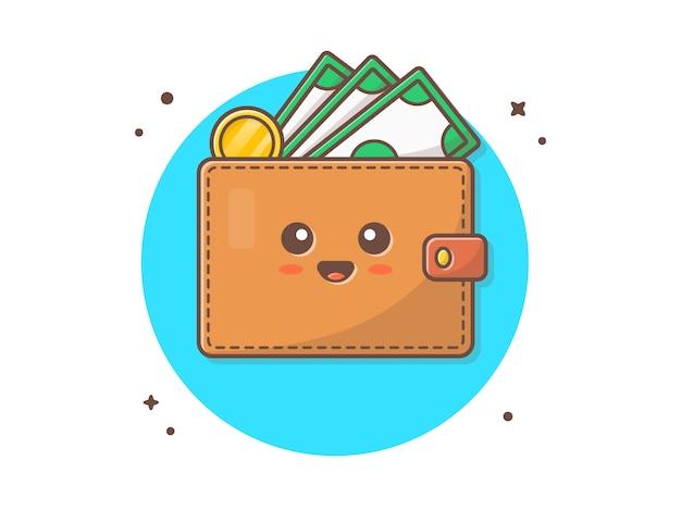 Illustrazione sveglia dell'icona di vettore della mascotte del portafoglio