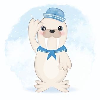 Animale artico sveglio del fumetto del marinaio del tricheco