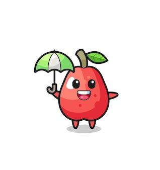 Illustrazione di mela d'acqua carina che tiene un ombrello, design in stile carino per maglietta, adesivo, elemento logo