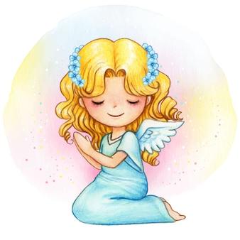 Angelo sveglio dell'acquerello con corona floreale blu