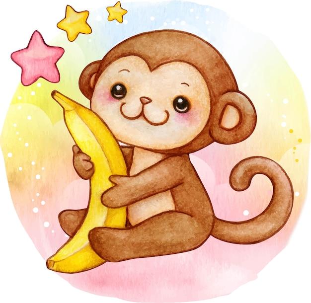 Scimmia sveglia del bambino dell'acquerello con la banana che si siede sulla priorità bassa del raiinbow