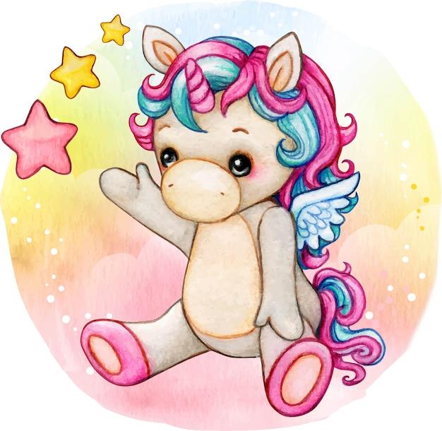 Unicorno sveglio del bambino dell'acquerello che si siede in uno sfondo arcobaleno