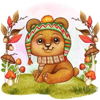 Illustrazione sveglia del bambino dell'orso dell'acquerello