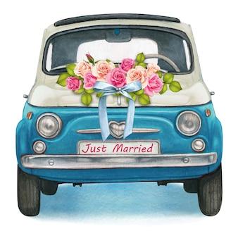 Automobile d'annata brillante blu e bianca dell'acquerello sveglio, giorno delle nozze