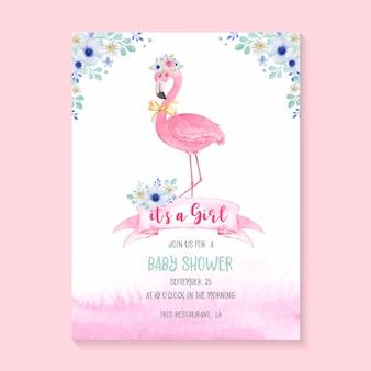 Simpatico fenicottero dell'acquerello e fiori per invito alla festa baby shower. carta di invito modello baby shower
