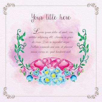 Cornice acquerello carino con diamanti e fiori