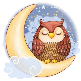 Gufo sveglio dell'acquerello che dorme sulla luna in una notte stellata