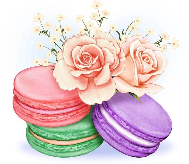 Macarons pastello dell'acquerello carino con bouquet di rose rosa