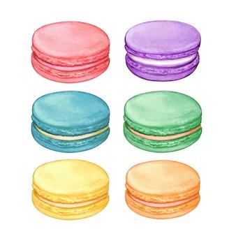 Macarons pastello dell'acquerello carino