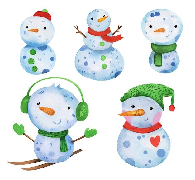 Insieme sveglio del pupazzo di neve dell'acquerello disegnato a mano in acquerello
