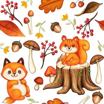 Modello di bosco carino acquerello con scoiattolo e volpe