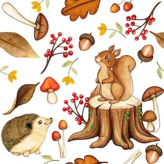 Simpatico motivo a bosco ad acquerello con scoiattolo e riccio