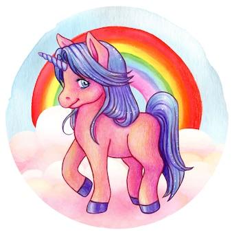 Acquerello carino e unicorno viola con arcobaleno