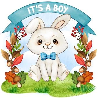 Simpatico coniglietto acquarello su uno sfondo autunnale
