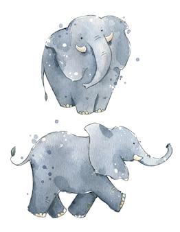 Illustrazione dipinta a mano di simpatici elefanti ad acquerello