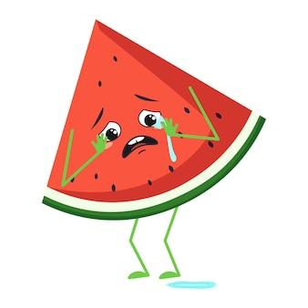 Simpatico personaggio di anguria con emozioni di pianto e lacrime, viso, braccia e gambe. l'eroe del cibo divertente o triste, bacche o frutta. illustrazione piatta vettoriale