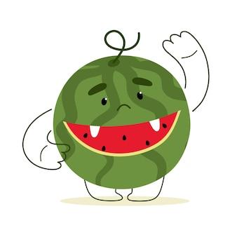 Carino mostro di anguria estate in stile cartone animato