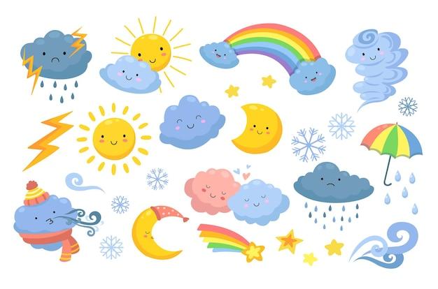 Tempo carino. arcobaleno isolato, pioggia del fumetto e uragano. nuvole divertenti e arrabbiate, sole felice e tornado. icone della natura emotiva. icone meteorologiche meteorologiche, arcobaleno e illustrazione di neve