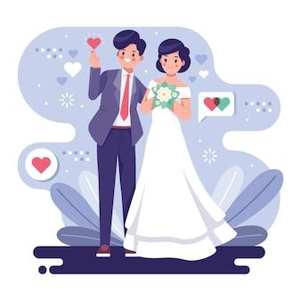 Concetto sveglio dell'illustrazione delle coppie di nozze